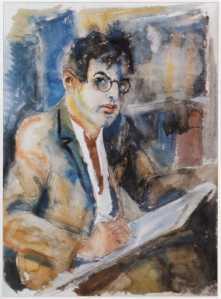 Rudolf Schlichter: Selbstporträt, Aquarell (60x45), undatiert (Privatbesitz)